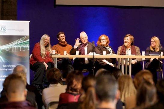 Panel at Academy20. Left to right: Eiléan Ní Chuilleanáin, Fearghus Ó Conchúir, Gerry Kearns, Helen Carey, Nigel Osborne, Helena Enright. Photograph by Maurice Gunning, used with kind permission.