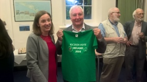 "Niamh Moore-Cherry (President GSI) and Dennis Pringle at the Geographical Society of Ireland event ""Celebrating the Life-Time Contribution of Dennis Pringle"""