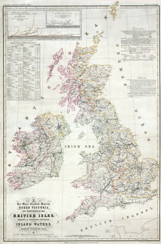Augustus Petermann, Hydrographical Map of the British Isles, 1849