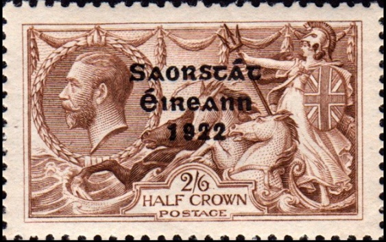 Figure 7. A 1922 King George V 'seahorses' postage stamp featuring Britannia, with an Irish Free State overprint