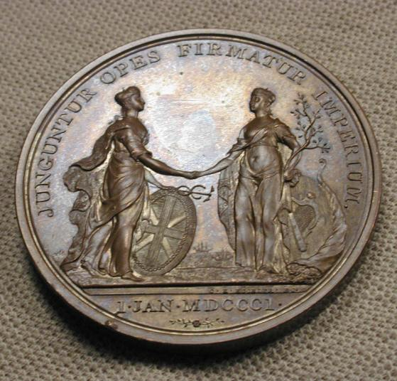 Figure 8. Memorial coin (Kuchler) commemorating the Act of Union between Ireland and Britain, 1801