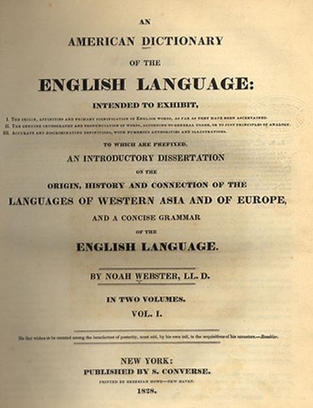 Webster's Dictionary, the 1828 edition