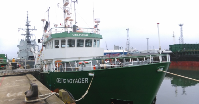 The Celtic Voyager, a reseearch vessel, at dock