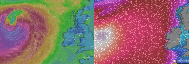 Wind and swell maps of Ireland and Atlantic